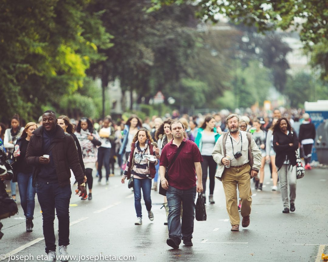 An photo of crowds arriving at the Notting Hill Carnival