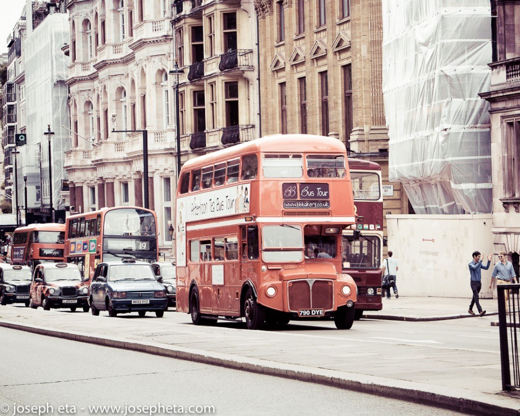 The iconic London Routemaster bus on Piccadilly road in London
