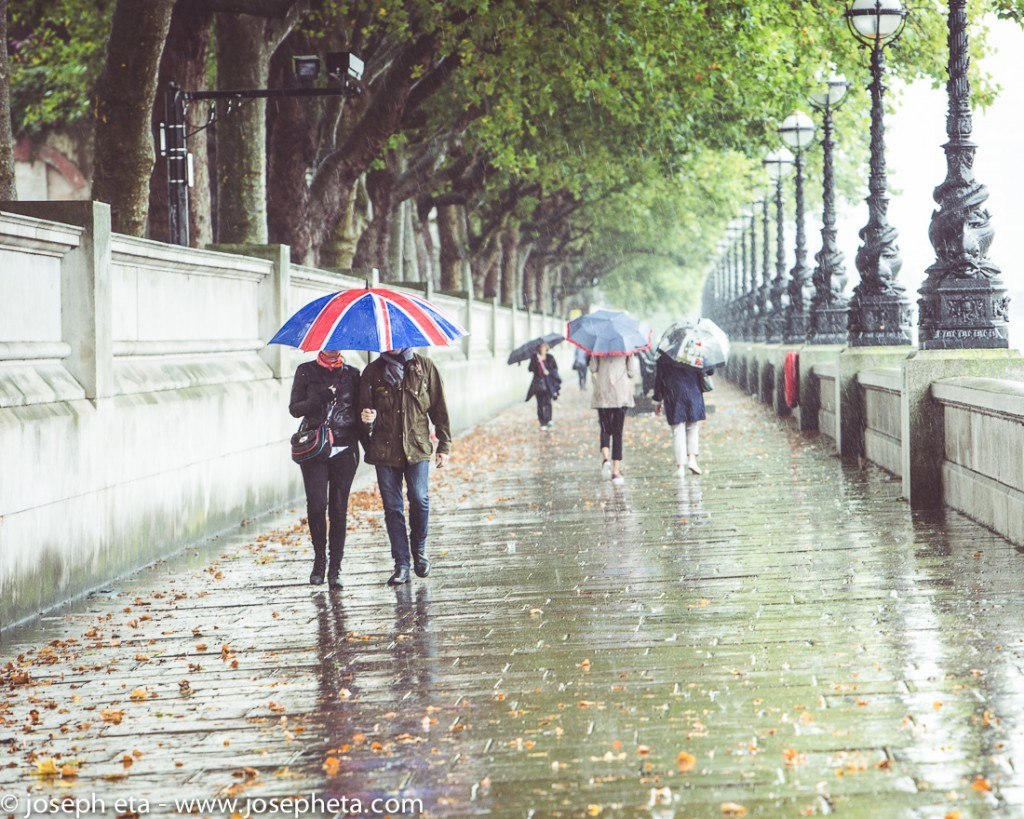 street photography of a couple walking inn the rain on the south bank in London