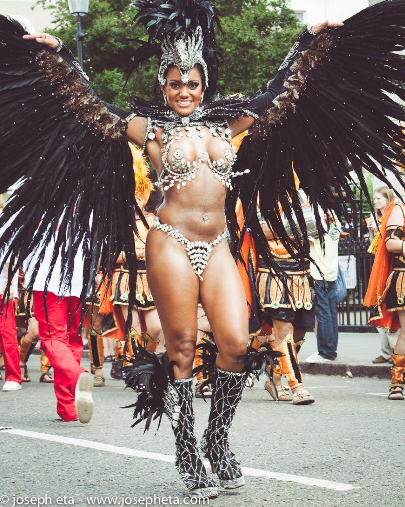 street photography of a carnival dancer at the London Notting Hill Carnival