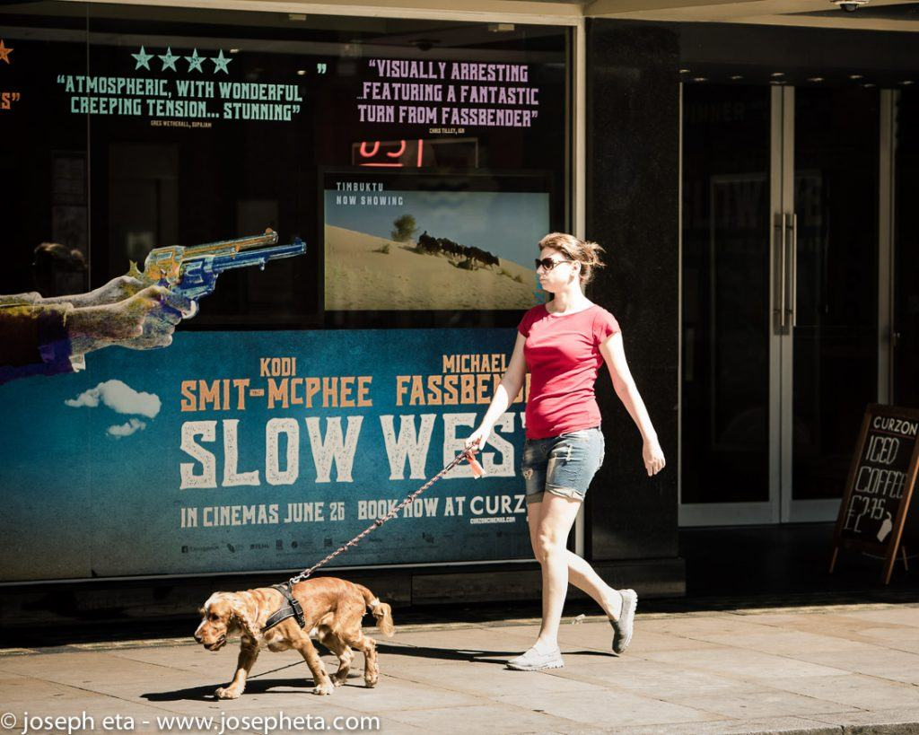 A woman walking her dog on Shaftsburry avenue in Picadilly in London