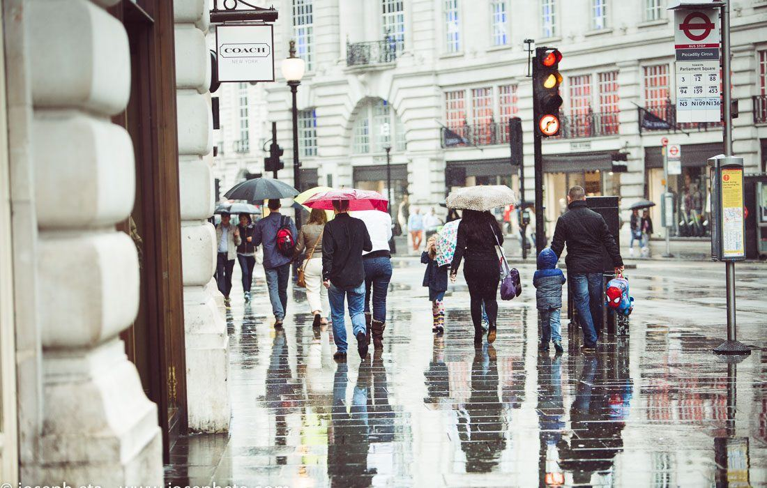 People under their umbrellas walking down Regents street in London