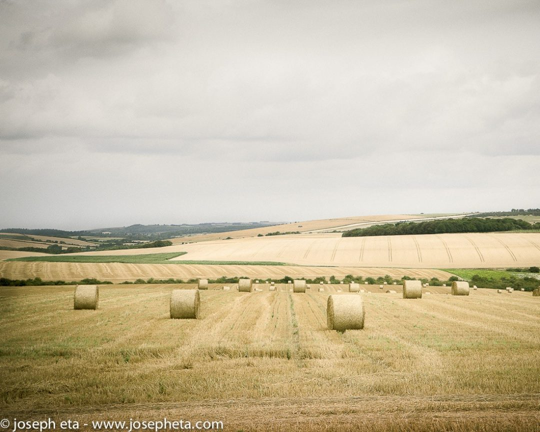 photo of rolls of haystacks on a farm in Cornwall