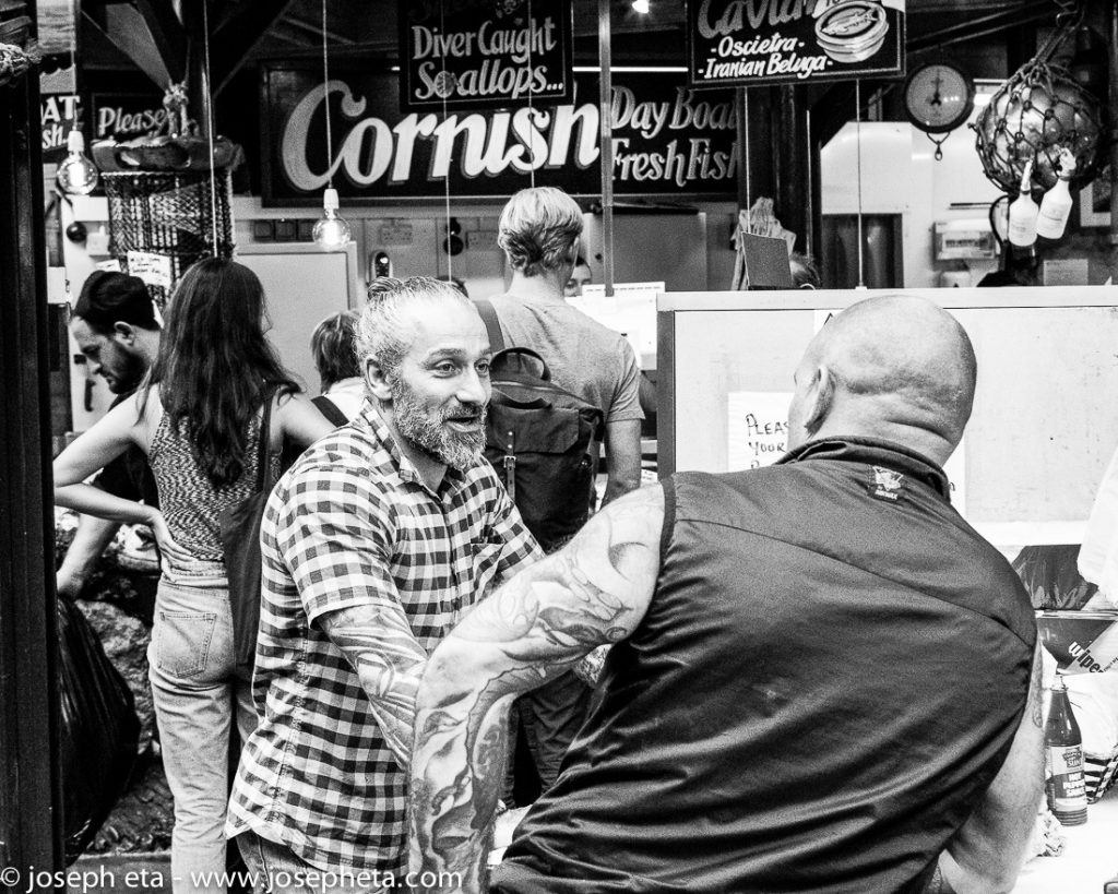 Two traders having a chat at London Borough market