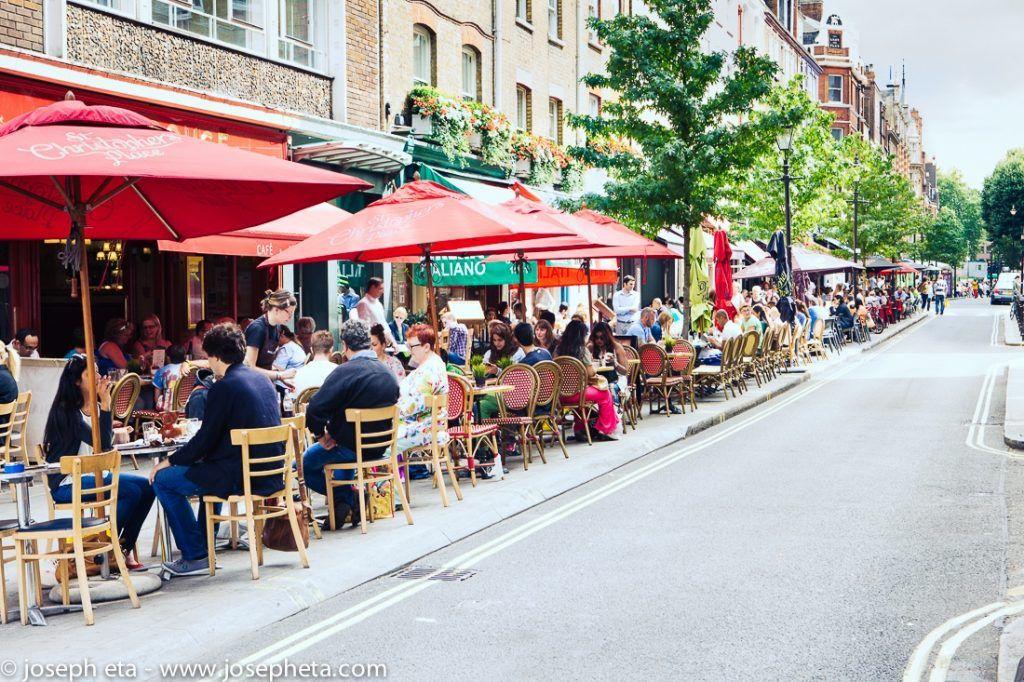 Londoners having brunch in outdoor restaurants in the summer