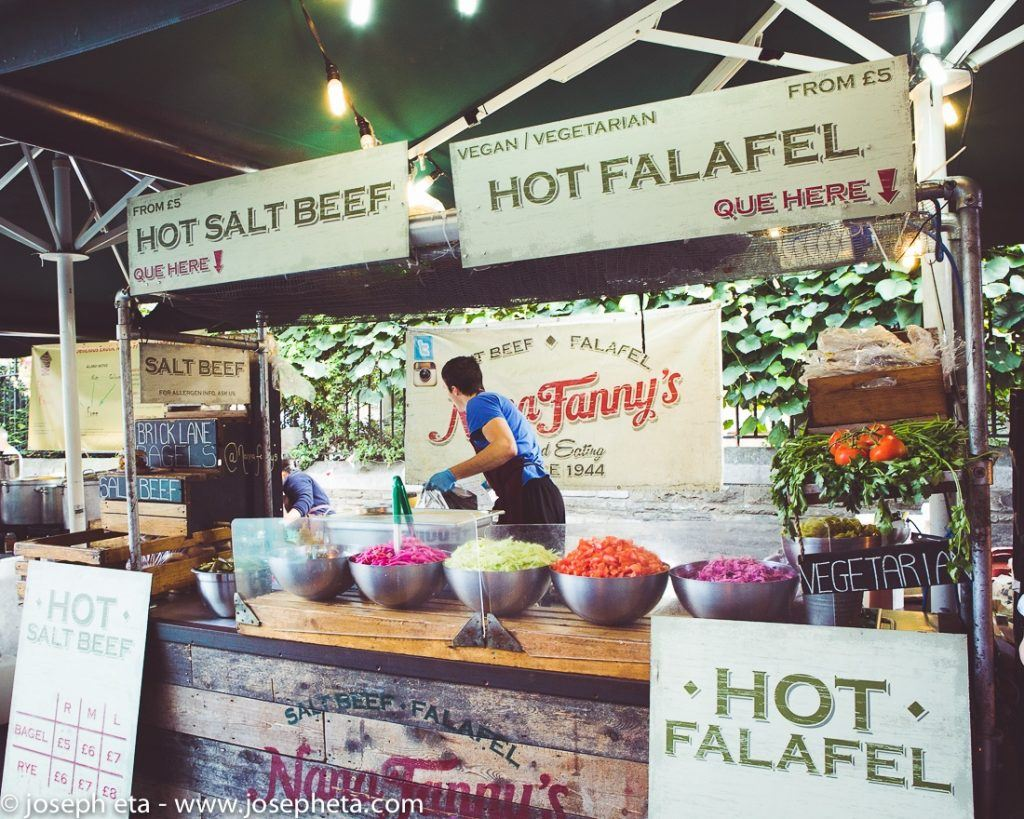 A hot falafel bar at Borough Market in London. A heaven for any foodie visiting London