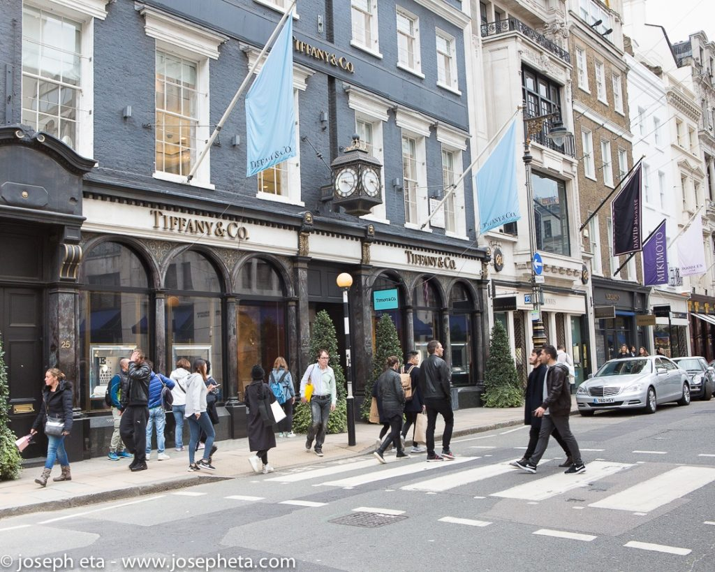 Tiffany & co jewellery shop on Old Bond Street in London