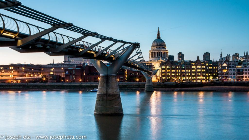 An image of the Millenium Bridge in London with Saint Paul's Cathederal in the far side