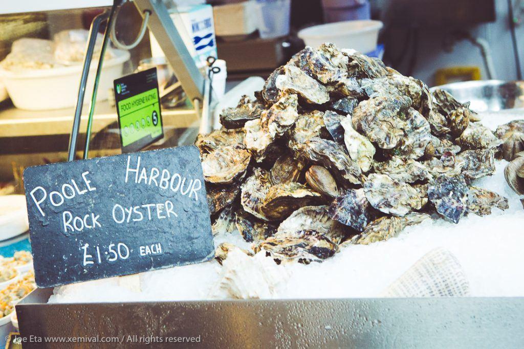 Fresh oysters at a fish monger's at London Borough market